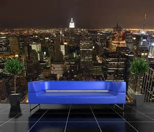 Self Stick Wall Murals Self Adhesive New York At Night Skyline Decorating Photo