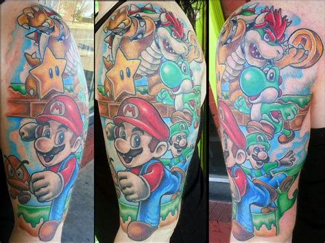 nintendo sleeve tattoo designs mario ideas