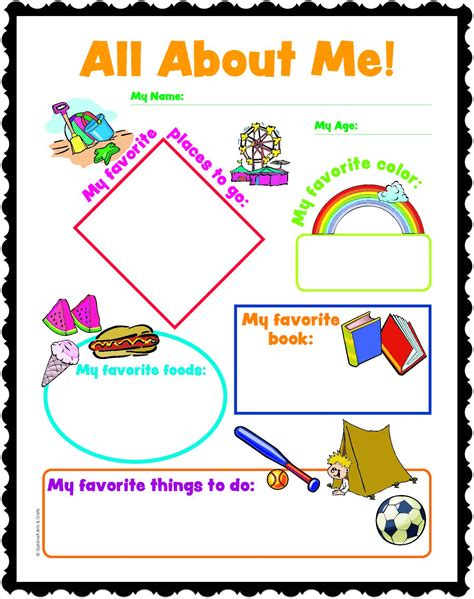 All About Me Worksheet For Adults