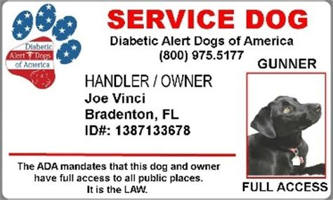service animal id card template diabetic alert dogs of america official id card