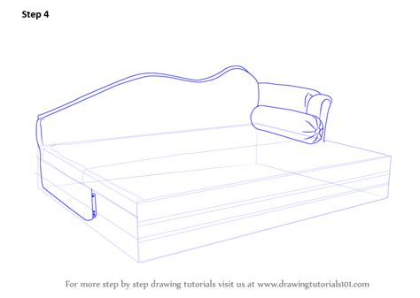 How To Draw A Sofa by Learn How To Draw Sofa Bed Furniture Step By Step