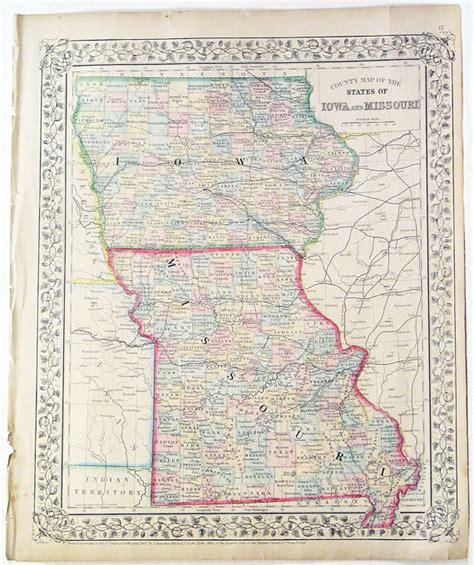 missouri border map states of missouri iowa colored atlas by