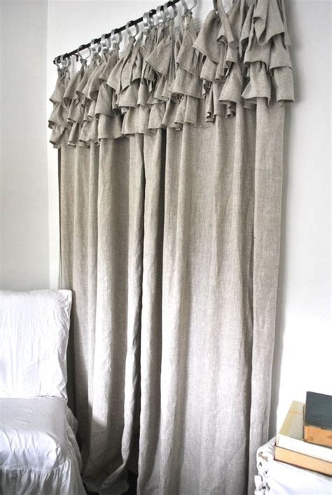 linen ruffle curtain ruffle top linen curtain