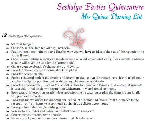 printable quinceanera planner quinceanera planning timeline guide party ideas by