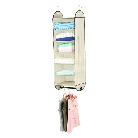 hanging clothes storage foldable 6 shelf fabric hanging closet organizer system