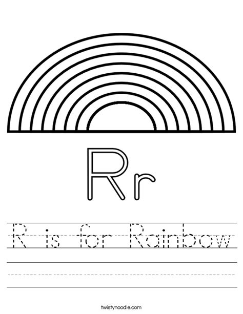 rainbow coloring page kindergarten r is for rainbow worksheet twisty noodle