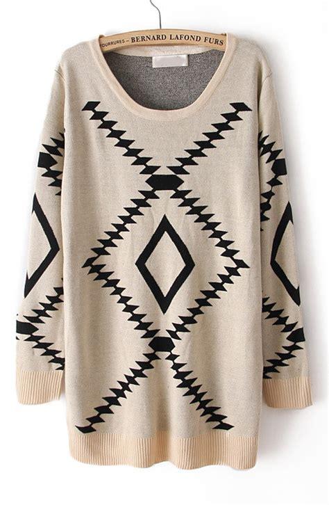 geometric pattern long sleeve pullover sweater beige long sleeve geometric pattern pullover sweater