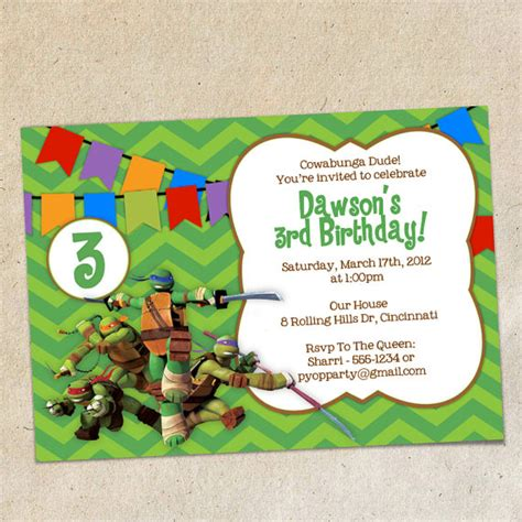 printable ninja turtle invitation template teenage mutant ninja turtles invitation template instant
