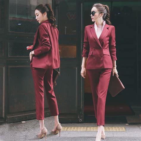 burgundy women suits spring autumnpants suit double