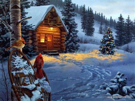Artist Darrell Bush Unframed Cabin and Cardinal Print Winter Colors   WildlifePrints.com