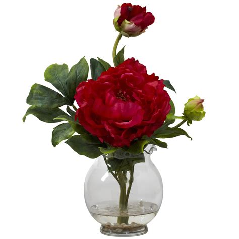 Red Flower Vase Red Peony Flower Centerpiece With Glass Vase