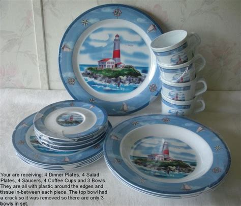 boat dinnerware set nautical breeze 19 pc melamine dinnerware set new