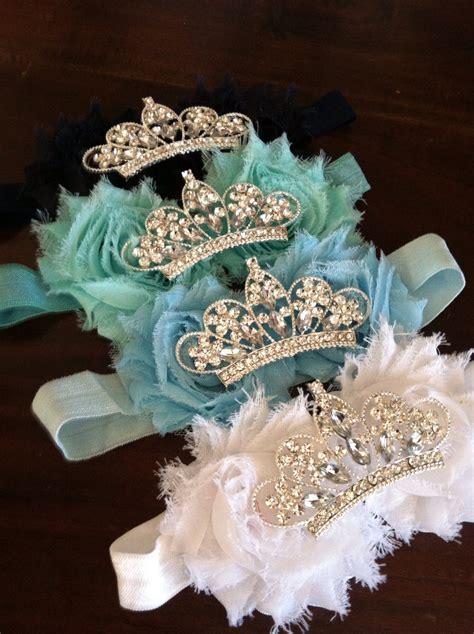 baby crown headband flower tiara rhinestone baby headband shabby flower headband tiara