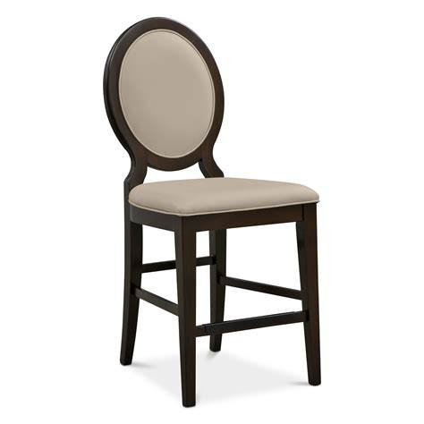 bar stools for counter height furniture brown wooden with grey cuhsion and round back