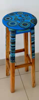 painted wooden stool by me home decor