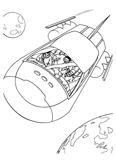 Image à colorier d'un vaisseau spatial avec son équipage à