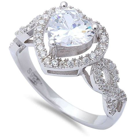halo infinity shank wedding engagement ring sterling silver 1 13ct russian cz ebay