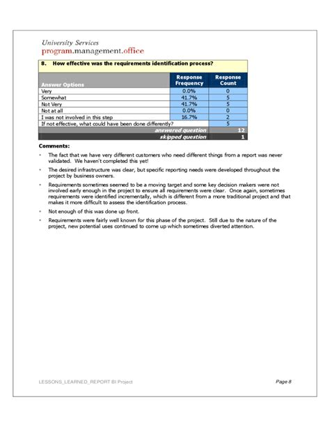 Lessons Learnt Report Template by Project Lessons Learned Report Free