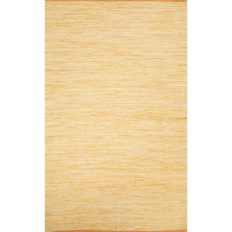 4x6 Rug Flatweave Solid Pattern Yellow Gold Cotton Area Rug 4x6