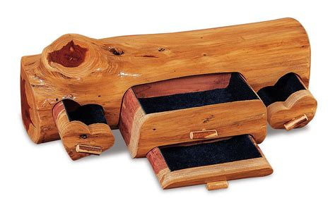 Amish red cedar log jewelry box