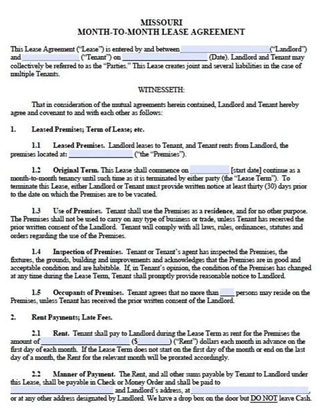 Missouri Lease Agreement Template Free Missouri Monthly Rental Agreement Templates In Pdf Word