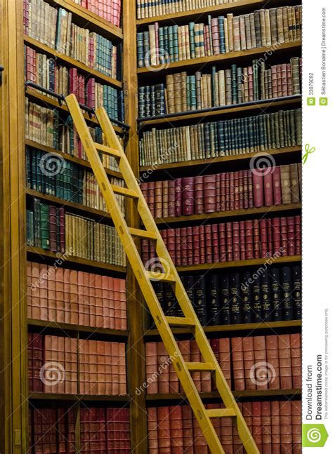 Bookcase Company by Wooden Ladder Stock Photo Image Of Encyclopedia Classic