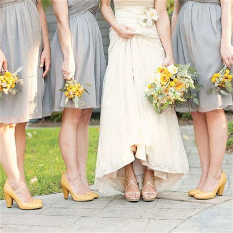 gray bridesmaids dresses yellow wedding shoes san diego