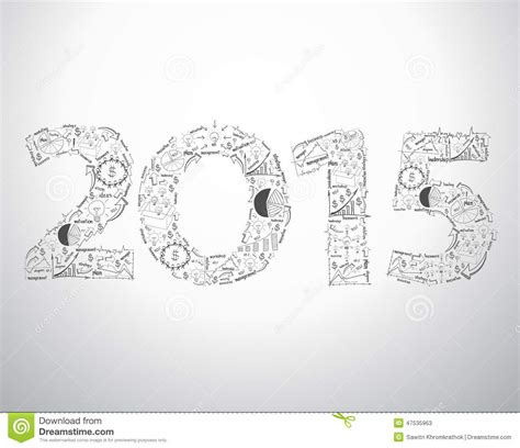 drawing design ideas vector new year 2015 text design with creative drawing