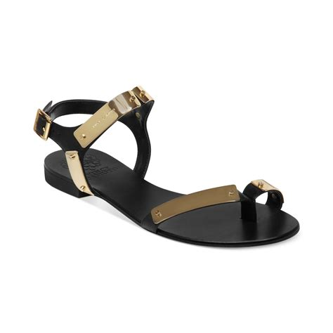 vince camuto flat shoes vince camuto joslyn flat sandals in gold black lyst