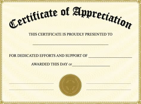 volunteer certificate of appreciation templates free free certificate of appreciation templates invitation