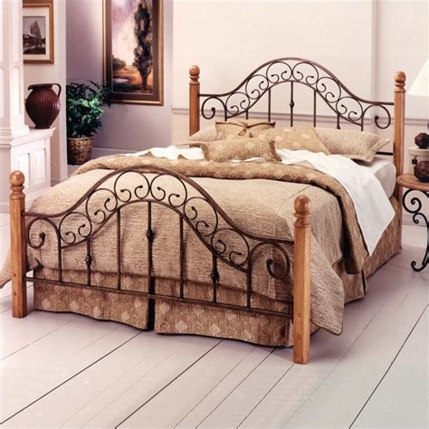 wood and metal headboards hillsdale san marco metal poster bed in brown rust copper
