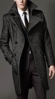 Burberry wool tweed belted coat in gray for men lyst