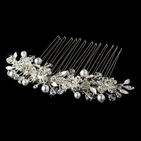 pearl and crystal hair comb versatile silver white pearl swarovski crystal hair comb