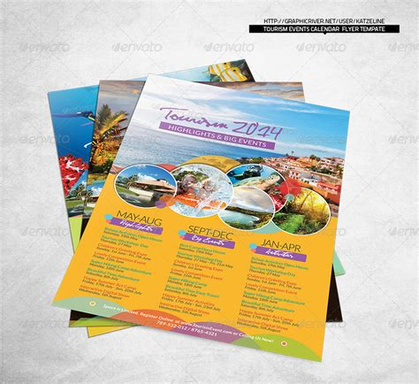 tourism events calendar flyer template indesign