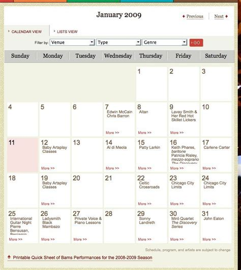 design calendar events event calendar design pattern exle at wolftrap 6 of 36