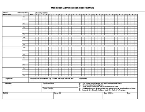 Records Template medication administration record template pdf template idea