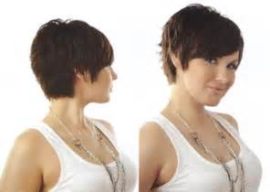 front and back views of chopped hair short layered bob hairstyles front and back view