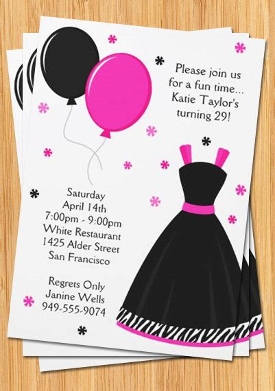 printable dress invitation pink and black party invitation zebra print dress and