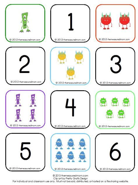 printable toddler matching games learn to count groups of 1 10 free monster memory game