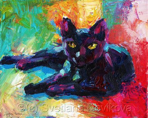 paint with a twist novi painting quot impressionistic black cat painting quot original