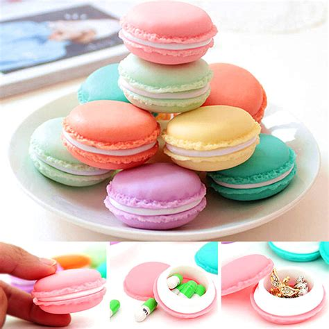 Headset Karakter Macarons 6 macaron earphone headset bag jewelry bead storage pill box craft container ebay