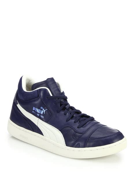 high top sneakers becker leather high top sneakers in blue lyst