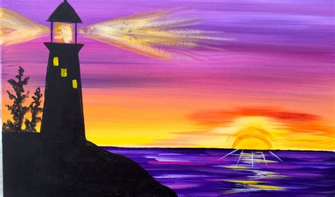 acrylic painting step by step for beginners lighthouse step by step acrylic painting on canvas