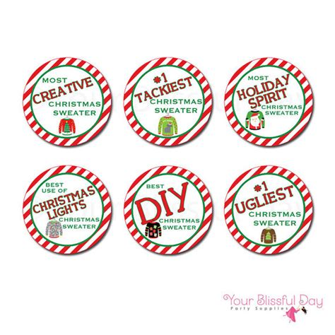printable trophy stickers ugly christmas sweater award sticker circles ugly