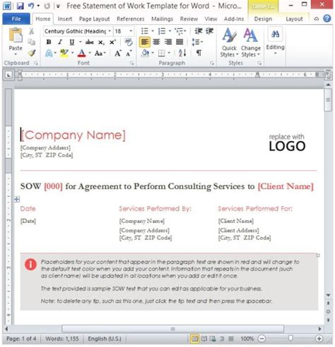 Free Statement Of Work Template For Word Statement Of Work Template Word