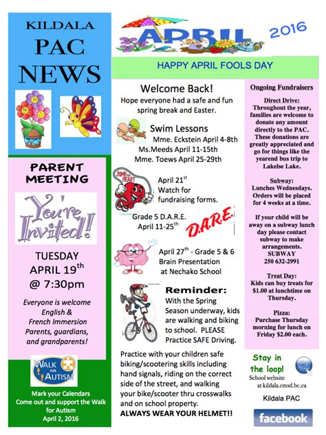 free april newsletter template pac april newsletter and calendar kildala elementary school