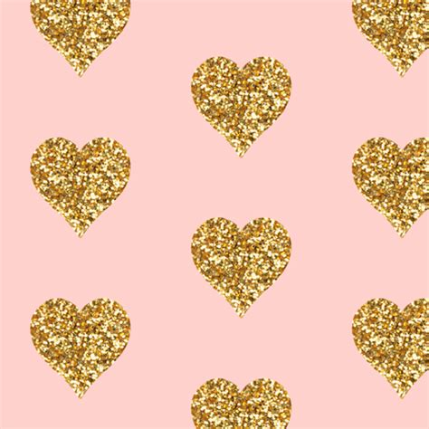 heart pattern gold gold glitter hearts on pink fabric willowlanetextiles