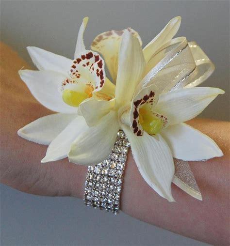 2015 prom wrist corsages artificial silk wedding flower bridal cream cymbidium