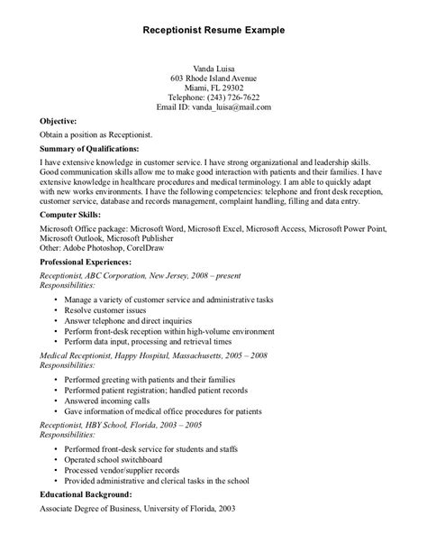 Resume Objective For Receptionist by Front Office Receptionist Desk Resume