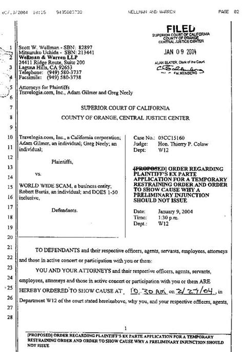 ex parte application lawsuit